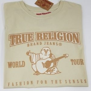 True Religion Mens T-Shirt Graphic Tee Tan New Lg